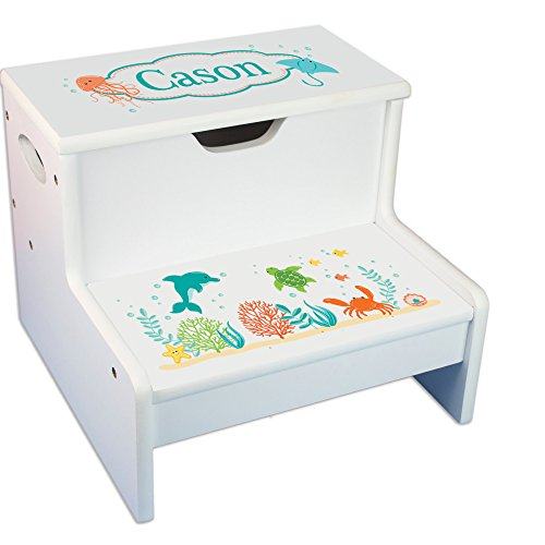 Personalized Sea and Marine White Childrens Step Stool with Storage