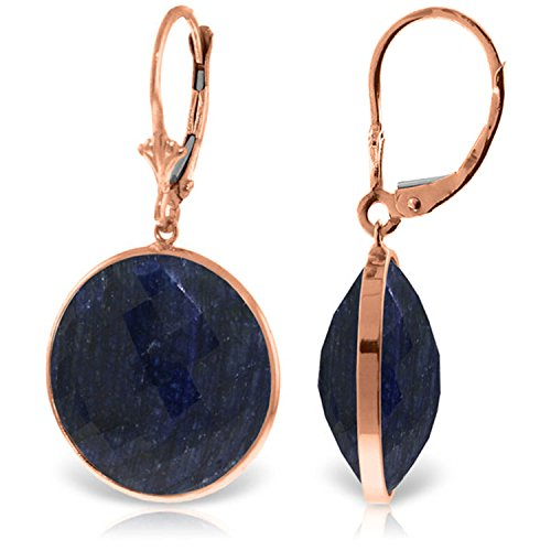 14K Solid Rose Gold Leverback Earrings with Checkerboard Cut Round Sapphires