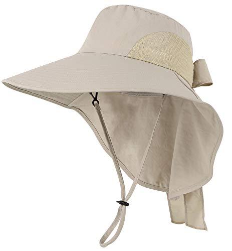 (Jasmine Sun Hat Womens Foldable Flap Cover UPF 50 UV Protective Bucket Hat,Khaki)