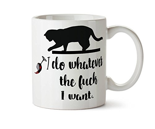 Own Kitty (I Do Whatever The Fuck I Want Naughty Kitty Knocking Stuff Over Tea Coffee Mug Add Own Text To Personalize 11 oz Coffee Tea Mug)