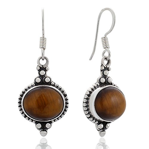 925 Sterling Silver Tiger Eyes Gemstone Indian Inspired Vintage Oval Dangle Hook Earrings 1.5