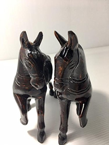 1 Pair of Wooden Hand Carved Trotting Horse Figurine Sculpture Statue,6.5