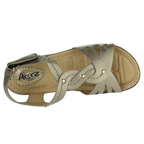 Frau Damen Druckpunkt Weich Flexibel Massage Sommer Leicht Keilabsatz Sandalen Schuhe Größe Grau