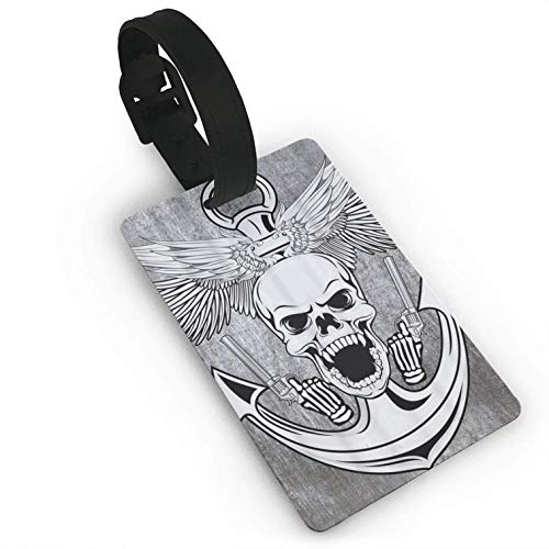 Skeleton Skull,Colorful Printed ID Tags Business Card Holder for,Luggage Baggage,Travel Identifier,Luggage Tags for Women Men Consignment Card]()