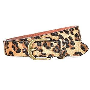 Talleffort Leopard Print PU leather Belt Women's Waist Belt Artificial Horse hair Belts for Women