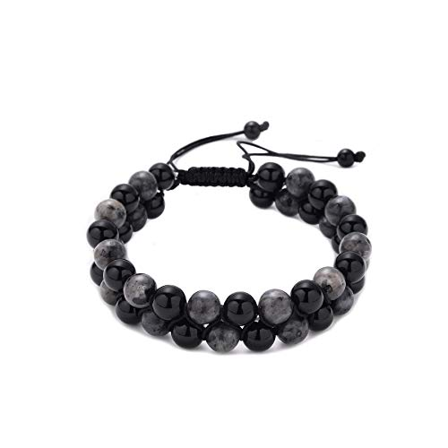 MAOCEN Mens Bracelet 2 Layer 8mm Stone Bead Bracelet Men Fashion Jewelry Handmade Adjustable Size (Black Onyx & Labradorite) from MAOCEN