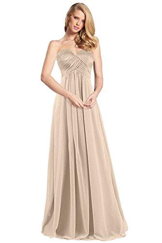 Lang Champagner Abendkleider Promkleider Partykleider Chiffon Milano aus Bride Herrlich Empire Rock Herzausschnitt FZxR7Yq
