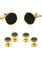 Tuxedo Cufflinks and Studs - Black Onyx with Gold Tone