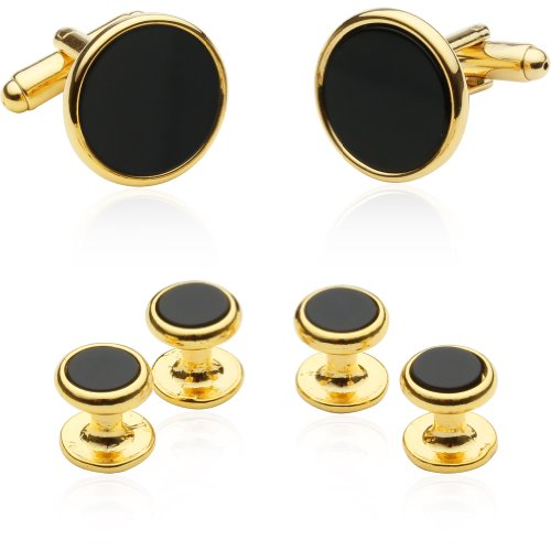 Cuff-Daddy Mens Tuxedo Cufflinks and Studs - Black Onyx with Gold-Tone with Presentation Box ()