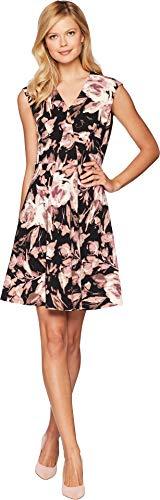 London Times Women's Long Sleeve Twist Front w/Flare Dress Black/Cherry 12