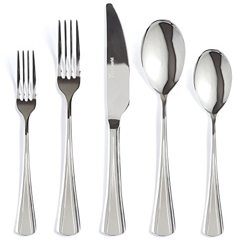 Silverware Set 20-Piece 18/10 Stainless Steel Flatware Set Mirror Polished Elegant Eating Utensil For 4 People Include Dessert Forks - Knife - Dinner Fork and Spoon Extra Thick - Dishwasher Safe by DOKAWORLD