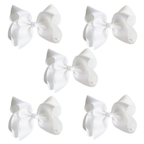 [CN Baby Girls Hair Bows,8inch Big Large Grosgrain Ribbon Boutique Bows With Alligator Clips For Teens Babies Toddlers Children Pack Of] (Cute Cheerleading Outfits)