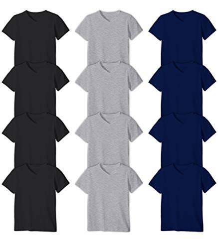 Andrew Scott Boys'12 Pack V Neck T Shirt Cotton Color Undershirts - Bonus Pack of 12 (S 6-8, 12 Pack- Black/Grey / Navy) ()