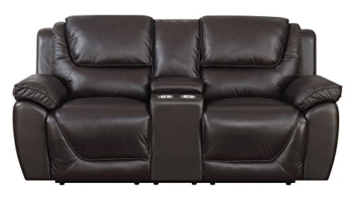 "MorriSofa MNY1699-5P-3030-7348 Saddie Power Reclining Loveseat, 80"" x 40.5"" x 39"", Chocolate"