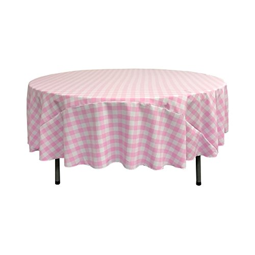 LA Linen Poly Checkered Round Tablecloth, 72-Inch, Pink/White