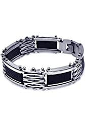 Men's Stainless Steel Celtic Design Rubber Center Biker Bracelet