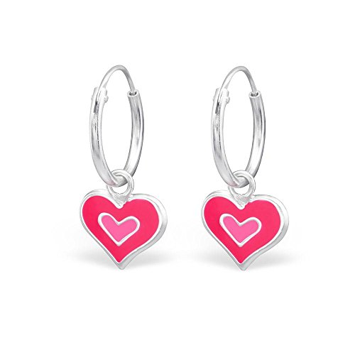 Hypoallergenic Sterling Silver Pink & Red Dangle Heart Hoop Earrings for Little Girls (Nickel Free) (Hoop Pink Heart)