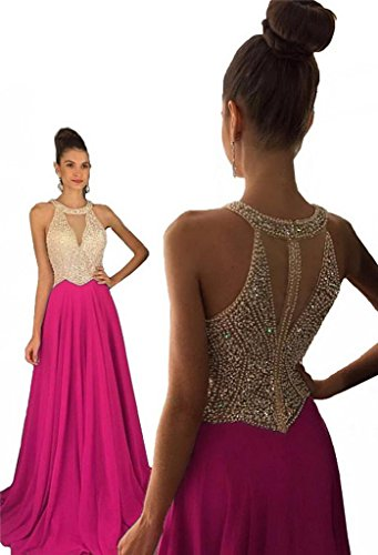 YORFORMALS Halter Sleeveless Beaded Chiffon Evening Party Dress Formal Gown Size 2 Hot Pink (Gown Beaded Chiffon)