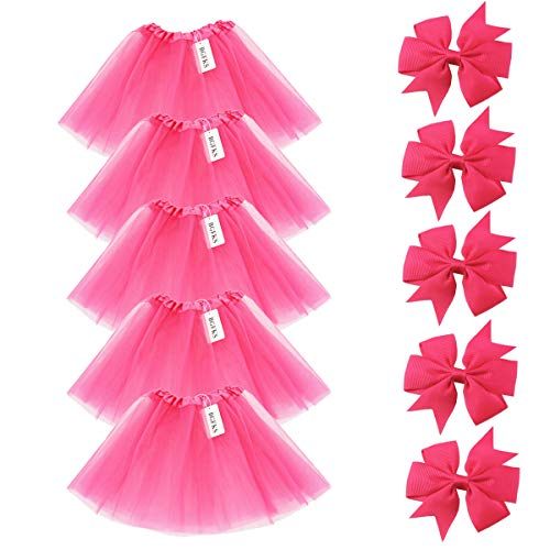 BGFKS 5 Pack Tutu Skirt for Girl Ballet Dance Costume Dress up Princess Party Girl Tutus with Butterfly Headdress 12 Colors Age 2-8(Rose Red) -