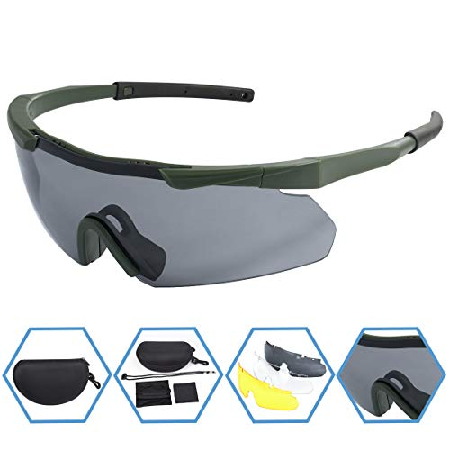 (XAegis Tactical Eyewear 3 Interchangeable Lenses, Outdoor Antifog Safety Glasses & Hard Shell Case - Unisex Shooting Glasses Cycling, Driving, Hiking,Fishing, Hunting - Green Frame)