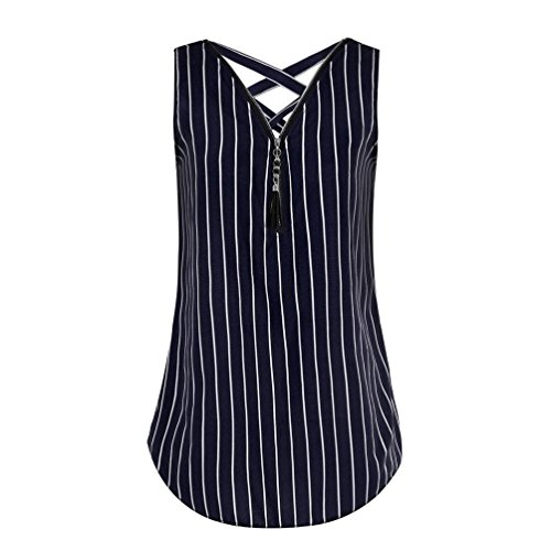 - CUCUHAM Women Loose Sleeveless Tank Top Cross Back Hem Layed Zipper V-Neck T Shirts Tops(V-Dark Blue, XXL)