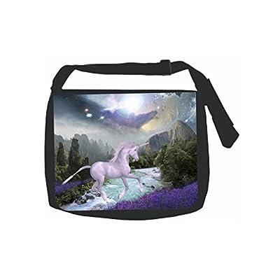 c45476c8f0 Unicorn in a Flower Lake - Black School Shoulder Messenger Bag 30 ...