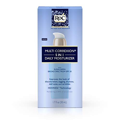 (RoC Multi Correxion 5 In 1 Anti-Aging Daily Face Moisturizer with Broad Spectrum SPF 30, anti-wrinkle Cream for Skin Discoloration, Elasticity, and Firmness, 1.7 fl. oz)