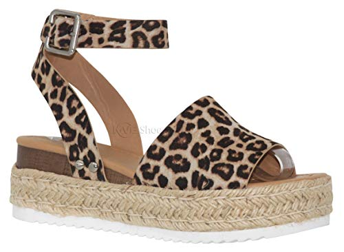 - MVE Shoes Women's Casual Peep Toe Ankle Strap Sandals - Cute Summer Espadrilles High Platforms - Comfort Wedges Saldals, Topic Oat CHEET 9