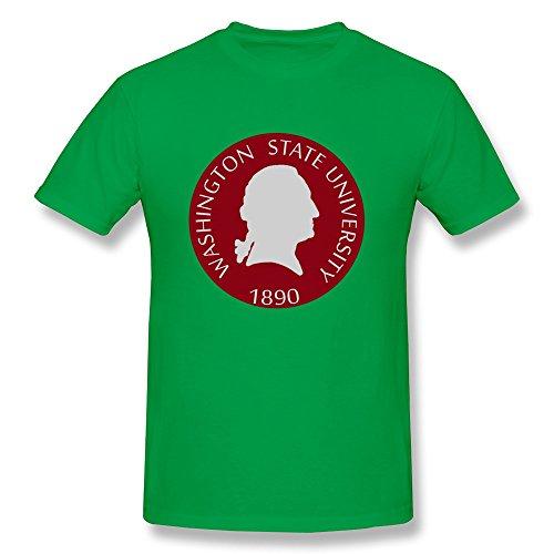 (JeFF Men Washington State University Logo O-neck Shirts ForestGreen Large)