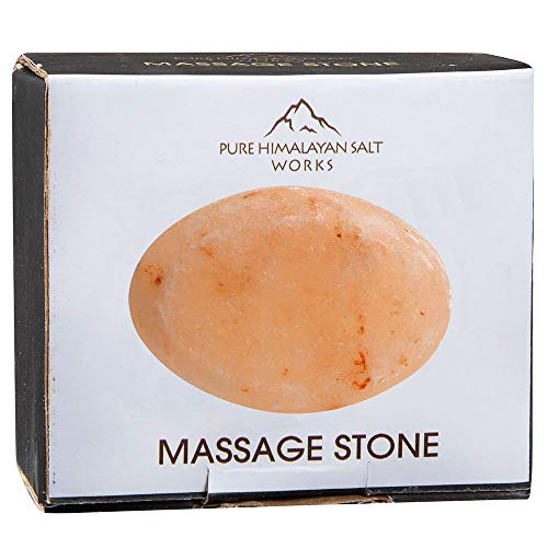 Pure Himalayan Salt Works Flat Oval Massage Stone, Crystal Hand-Carved Massage Therapy Stone, 2.5 W x 3.5 L x 1 D Inches