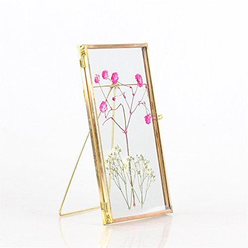 Glass Copper Brass Copper and Glass Rectangular Modern Ornament Photo Specimen - Frame Gold Geometric