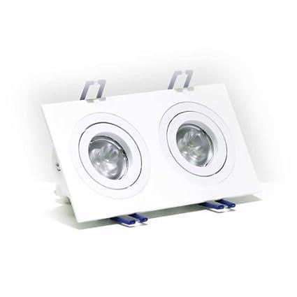 Foco para techo orientable con 2 aros, color blanco mate, puedes instalar dos bombillas GU10 de Led (no incluidas)