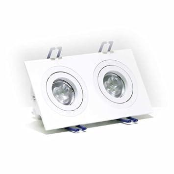 Foco para techo orientable con 2 aros, color blanco mate, puedes instalar dos bombillas GU10 de Led (no incluidas): Amazon.es: Electrónica