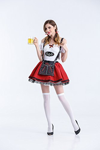 XIAOLI& Halloween Costume Germany Beer Festival Clothing Sexy Harness Skirt Waiter Clothing Cosplay, red, l]()