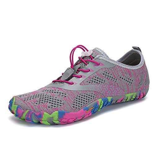 Mens Womens Barefoot Gym Running Walking Trail Beach Hiking Water Shoes Aqua Sports Pool Surf Waterfall Climbing Quick Dry Grey/Pink 7 M US Women / 6 M US - Grey Waterfall
