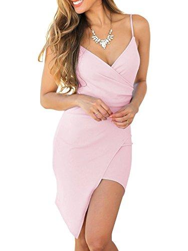 Ashuai Women Summer Bodycon Dress Sexy Spaghetti Strap Asymmetrical Tulip Cami Dresses Pink (Dress Pink Tulip)