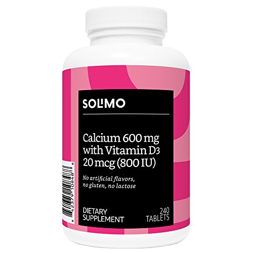 Amazon Brand - Solimo Calcium 600 mg with Vitamin D3 20 mcg (800 IU), 240 Tablets (2 Tablets per Serving)