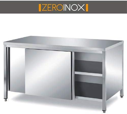 ZeroInox Mesa Acero INOX- porfondità 60 cm – armadiato con Puertas ...