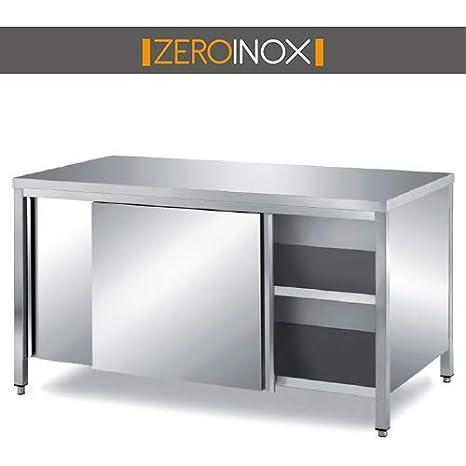 ZeroInox Mesa Acero INOX- porfondità 60 cm - armadiato con ...