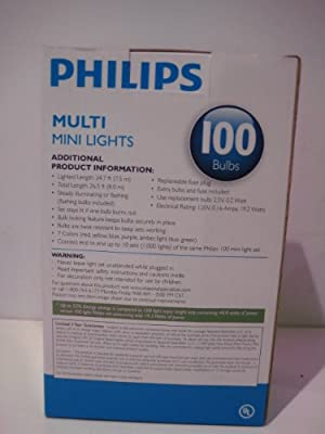 PHILIPS Indoor/Outdoor 100 Multi Mini Lights 7 Colors Energy Efficient
