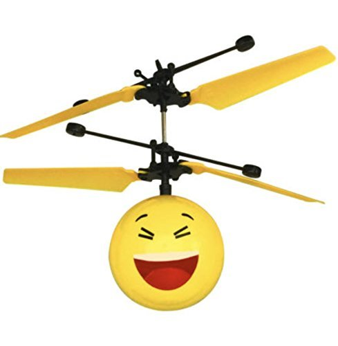 EMOJI Mini RC Flying Magic Fun Illuminated Ball - RC Infrared Induction USB Helicopter Ball with Built-inShinning LED Lighting for Kids, Teenagers. FREE SPINNER
