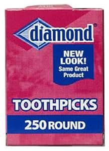 Diamond Round Toothpicks, Pack of 250