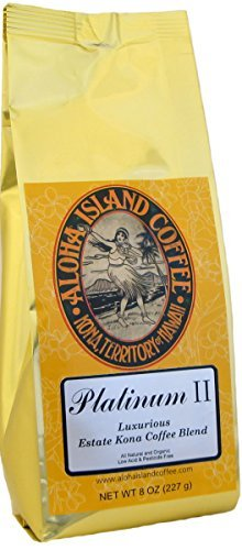 Platinum II, Our Luxurious Kona Blend, Light Roast, 8 Oz Ground