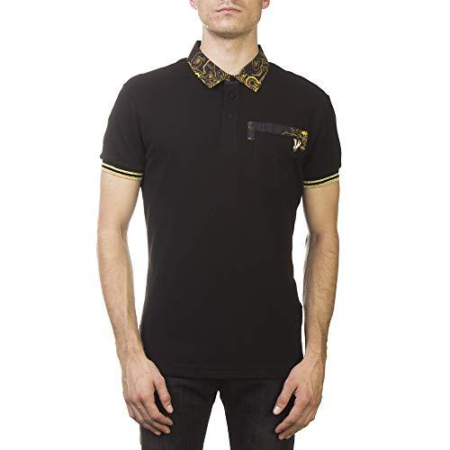 (Versace Jeans Couture Pique Cotton Ribbed Baroque Polo Shirt Black Gold)