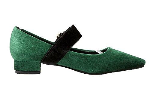 Allhqfashion Womens Gesp Puntig-teen Frosted Assorti Kleur Pumps-schoenen Groen