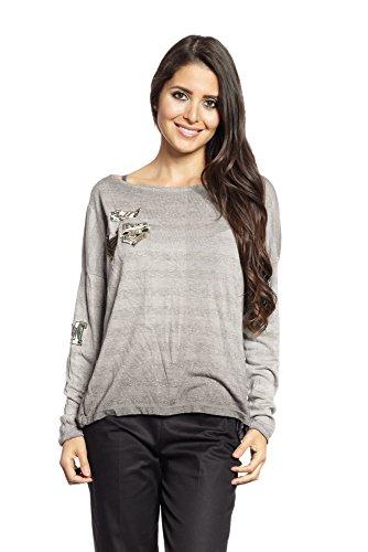 Abbino 6286 Camisas Blusas Tops para Müjer - Hecho en ITALIA - 5 Colores - Muchos Colores - Verano Otoño Invierno Mujeres Femeninas Elegantes Manga Larga Casual Fiesta Rebajas - Talla única Gris (Art. 6286-4)