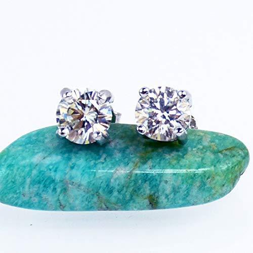 (1Carat White Moissanite Diamond Earrings, Studs, 925 Sterling Silver)