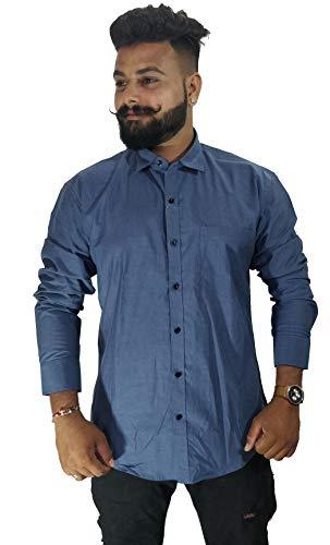 ihope Man Kashmir Blue Plain Casual Shirt