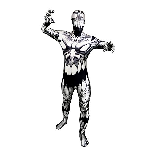 Morphsuits Monster Mouth, Black/Grey/White, Medium Skinsuit