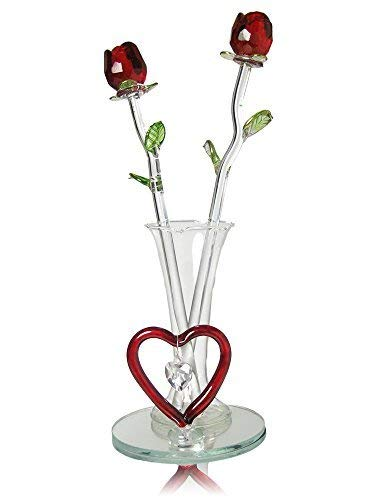 (Mom Gift - Two Red Roses in Vase - Forever Rose Collection with Heart Shaped Charm and Designs - Mother's Day, Lover Girlfriend Wife)